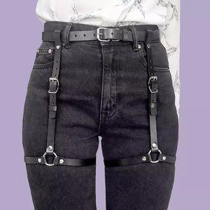 Punk Black Leather Belt Waist Garter